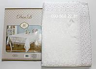 Тканевая скатерть с кружевом 150х225 (белый)