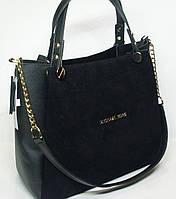 Модная женская замшевая сумка Michael Kors черный цвет