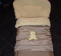 Зимний  меховый конверт трансформер для коляски и санок