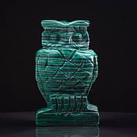 Статуэтка Сова натуральный камень Малахит H-8см
