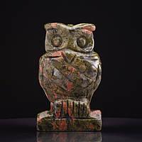 Статуэтка Сова натуральный камень Гелиотроп H-10см