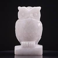 Статуэтка Сова натуральный камень Белый кварц H-10см