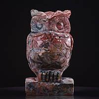 Статуэтка Сова натуральный камень Моховый Агат H-10см