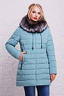 Голубая зимняя женская куртка с мехом чернобурки и капюшоном большой размер 48,50, 52,54,56