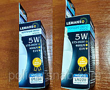 Лампа LED світлодіодна 5,0 W 400lm 4000К,6500К Е14 свічка LM228