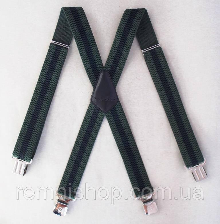 Широкі чоловічі зелені підтяжки Paolo Udini