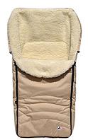 Зимний чехол, конверт для  коляски, санок на овечьей шерсти. Бежевый