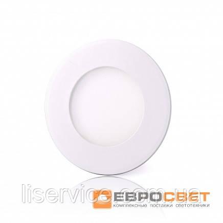 Світильник Евросвет LED-R-90-3 3Вт 4200К круг встраиваемый