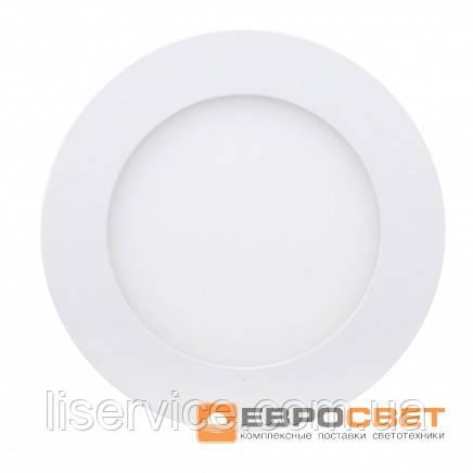 Світильник Евросвет LED-R-120-6 6Вт 4200К круг встраиваемый
