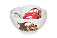 Набор детский чашка+пиала тачки