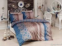 Комплект постельного белья First Choice Satin Cotton сатин евро арт.Kavin petrol