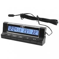 Авточасы с термометром для внутренней и внешней температуры VST-7037