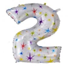 """Надувна фольгована цифра """"2"""" зірочки 110 см"""
