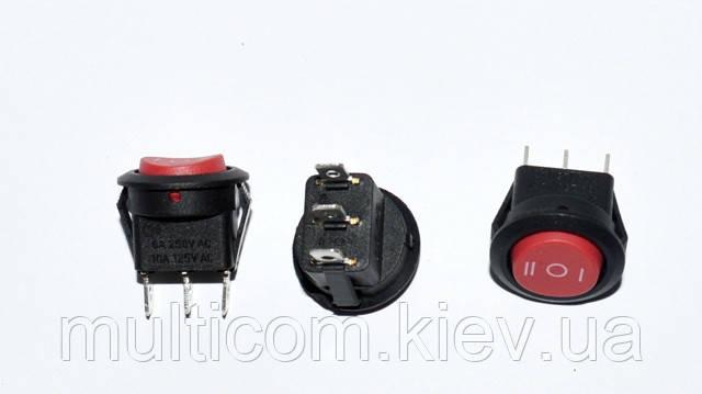 11-05-164. Перключатель авто с круглой клавишей (ON-OFF-ON) 3pin, 12V, 20A, красный, красный