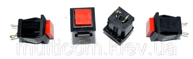 11-01-017. Кнопка питания квадратная малая (ON-OFF), 2pin, 2A-125V/1A-250V, без фиксации
