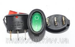 11-02-053. Переключатель с овальной клавишей (ON-OFF), 3pin, 10А-125V/6A-250V, с подсветкой