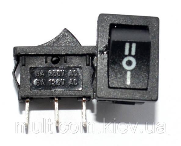 11-02-051. Переключатель клавишный (ON-OFF-ON), 3pin, 10А-125V/6A-250V, черный, без фиксации, без посдветки