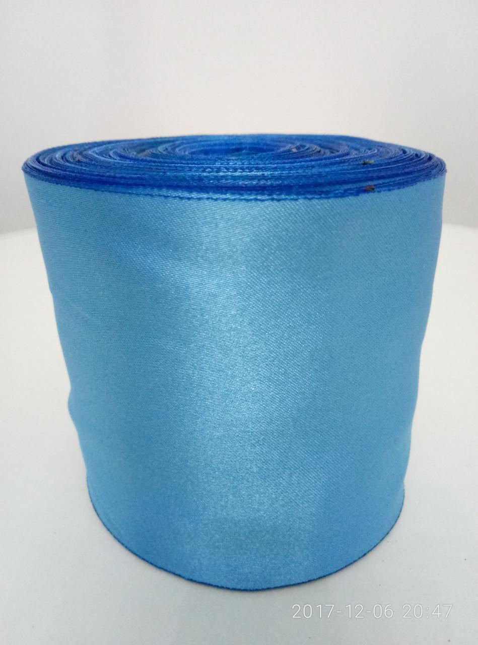 Лента голубая атласная