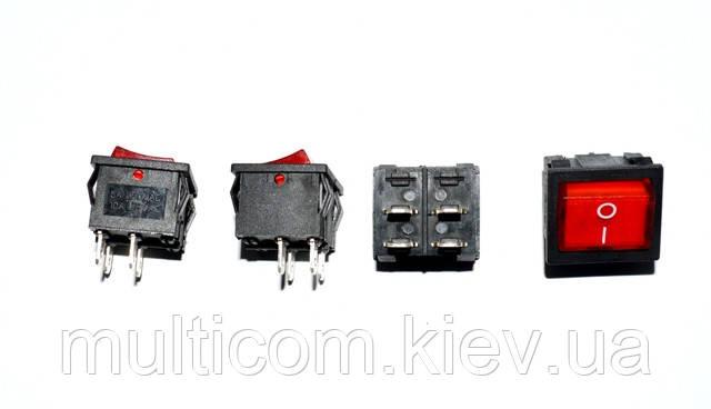 11-04-020. Переключатель широкий с подсв. MIRS-201-4 ON-OFF, 4pin, 6A, 220V