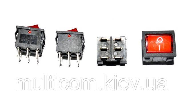 11-04-021. Переключатель широкий с подсв. MIRS-202-4 ON-ON, 6pin, 6A, 220V