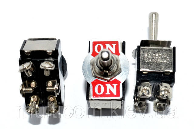 11-00-702. Тумблер KN3(B)-202 (ON-ON), 6pin, 10А-125V/6A-250V