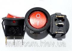 11-02-057. Переключатель круглый МIRS-101-8С (ON-OFF), 3pin, 13А-125V/6A-250V, красный, с подсветкой