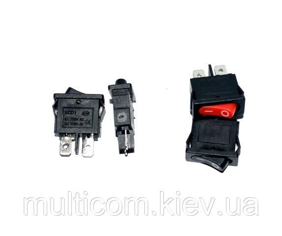11-02-004RD. Переключатель клавишный узкий KCD-1 (ON-OFF), 2pin, 10А-125V/6A-250V, без подсветки, красный