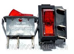 11-03-17. Перключатель клавишный авто узкий с посдсветкой 3pin, ON-OFF, 12V