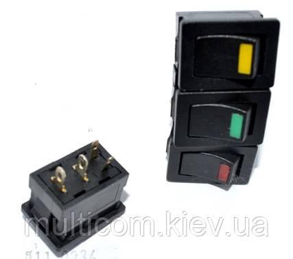 11-05-167. Переключатель клавишный (ON-OFF), 4 pin, 12V, 6A, с подсветкой