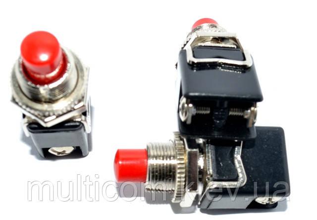 11-01-005. Кнопка PBS-13C (ON-OFF), 2pin, 2A-125V/1A-250V, без фиксации, красная