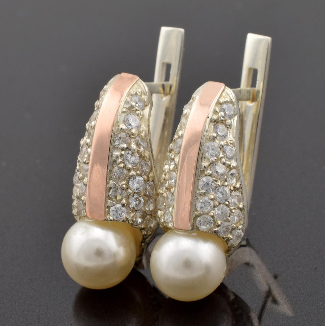 """Серебряные серьги с золотыми пластинами """"Алла"""", размер 19*8 мм, вставка искусственный жемчуг, вес 4.95 г"""