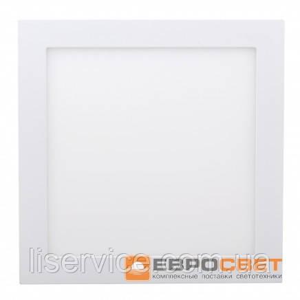 Світильник Евросвет LED-S-300-24 24Вт 6400К квадрат встраиваемый