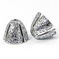 Конус шапочки для бусин, латунь, 14х12мм, цвет античное серебро (2шт) УТ100007956