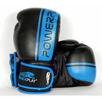 Перчатки бокс PowerPlay 3022/Сowhide black-blue 10oz