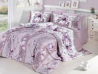 Комплект постельного белья First Choice Satin Cotton Евро Vintage-lila