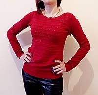 Нарядная женская кофточка со стразами (цвет красный) / Модная женская кофточка
