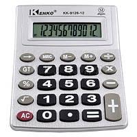 Калькулятор настольный kenko 9126-12, питание от батарейки, общее суммирование, 12 разрядов, жк-дисплей