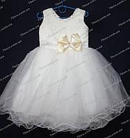 Детское платье бальное Бант (молочное) Возраст 3-4г., фото 1
