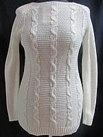 Свитер белый, вязка  косички, р.46-50, код 2171М