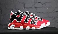 Кроссовки Nike Air More Uptempo - Red/Black , материал - кожа, подошва - пенка