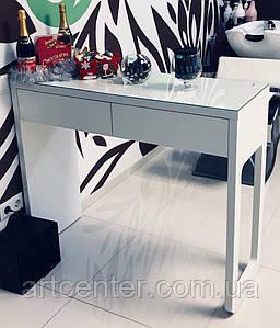 Стол для визажиста, парикмахера с двумя ящиками и столешницей со стеклом