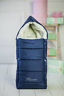Темно-синий конверт на овчине в коляску, Flavien, зимний