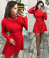 Платье женское из ангоры украшено жемчугом