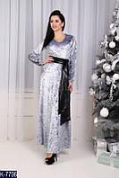 Однотонное бархатное платье в пол с длинными рукавами