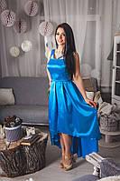 Яркое коктельное платье с отрезной пышной юбкой, ассиметричной длины.