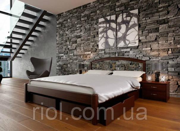 Кровать деревянная двуспальная Британия К с ковкой