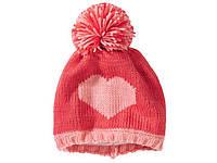 Шапка теплая детская розовая Сердце на флисе р.52-56 Lupilu (Германия)