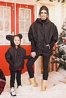 Стильная черная женская куртка с ушками