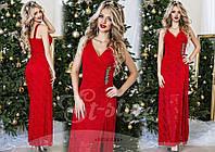 Вечернее платье в пол с гипюром, подкладка - масло, цвет - красный
