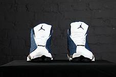 Кроссовки баскетбольные Nike Air Jordan 13 Blue/White/Grey, материал - кожа+нубук, фото 3